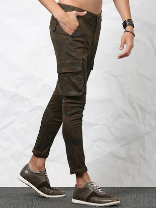 brown cotton cargos casual trousers - 15379410 - Standard Image - 3