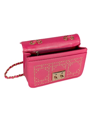 pink leatherette (pu) regular sling bag - 15384499 - Standard Image - 3