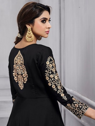 Embroidered semi-stitched flared suit - 15388368 - Standard Image - 3