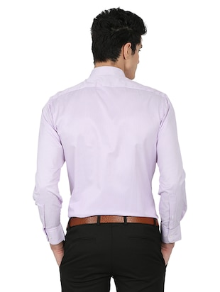 purple cotton blend formal shirt - 15389913 - Standard Image - 3