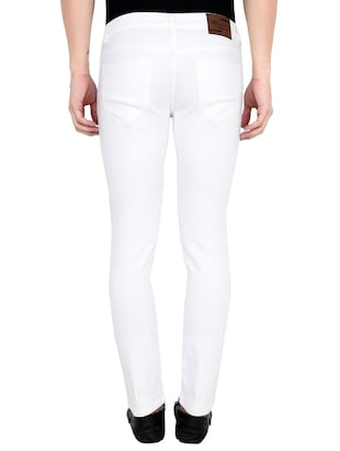 white cotton blend plain jeans - 15390765 - Standard Image - 3