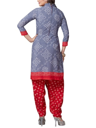 Printed unstitched combo suit - 15401084 - Standard Image - 3