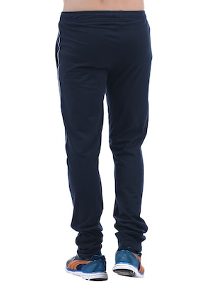blue cotton full length track pant - 15406489 - Standard Image - 3