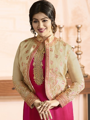 Embroidered semi-stitched churidaar suit - 15410234 - Standard Image - 3