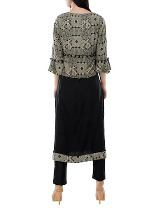 straight kurta with jacket - 15410268 - Standard Image - 3