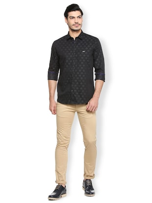 black cotton casual shirt - 15410571 - Standard Image - 3