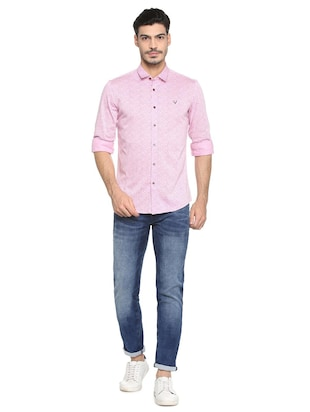 pink cotton casual shirt - 15410585 - Standard Image - 3