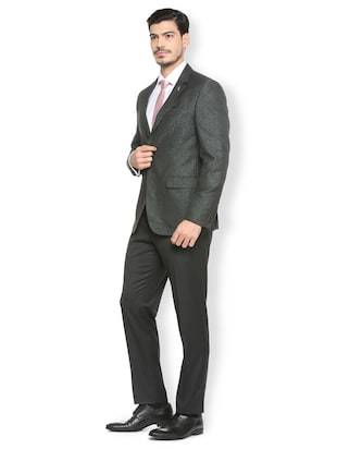green terry rayon single breasted suit - 15410763 - Standard Image - 3