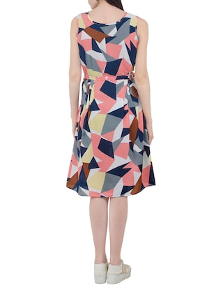 Geometric fit and flare belted dress - 15411128 - Standard Image - 3