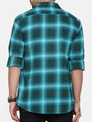 green cotton casual shirt - 15411218 - Standard Image - 3