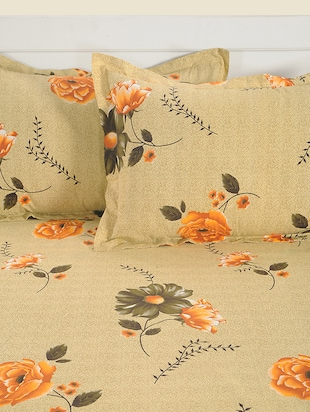 180 TC Floral Print Cotton Single Bed Sheet with 1 Pillow Cover - 15411869 - Standard Image - 3