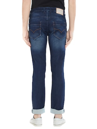 blue cotton washed jeans - 15412036 - Standard Image - 3