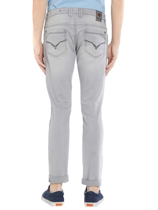 grey cotton washed jeans - 15412043 - Standard Image - 3