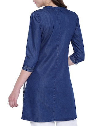 denim straight kurta - 15412238 - Standard Image - 3