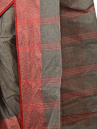 contrast jacquard border tant saree with blouse - 15412335 - Standard Image - 3