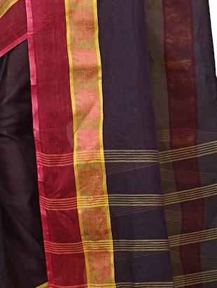 contrast jacquard border tant saree with blouse - 15412338 - Standard Image - 3