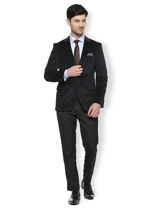 black cotton blend single breasted blazer - 15412820 - Standard Image - 3
