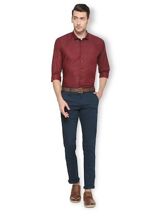 maroon cotton blend formal shirt - 15413115 - Standard Image - 3