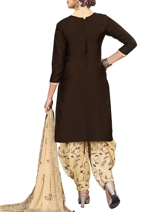 Embroidered semi-stitched salwar suit - 15413352 - Standard Image - 3