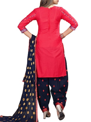 Embroidered semi-stitched salwar suit - 15413358 - Standard Image - 3