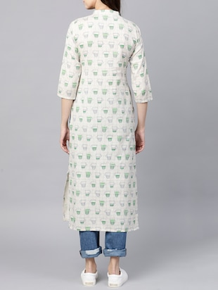 Pintucks straight quirky kurta - 15413452 - Standard Image - 3