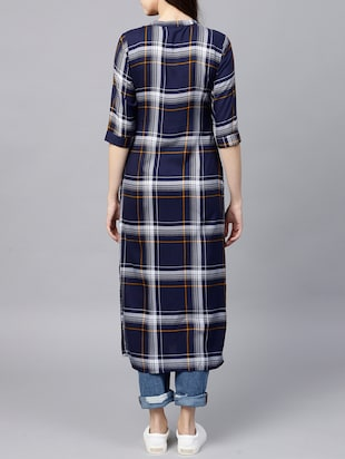 straight checkered kurta - 15413473 - Standard Image - 3