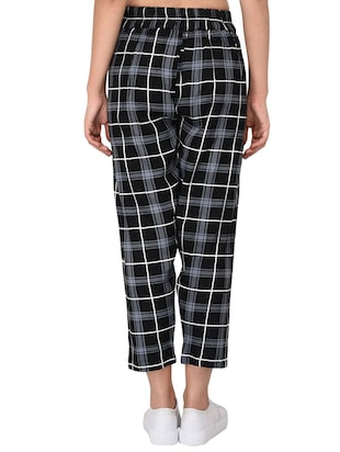 Checkered high-rise trouser - 15414330 - Standard Image - 3