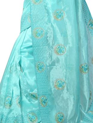 floral resham embroidered saree with blouse - 15414400 - Standard Image - 3
