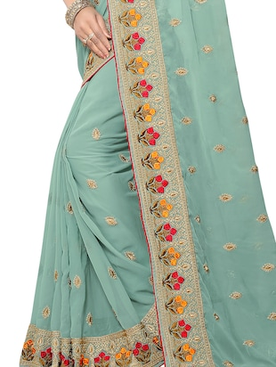 floral border zari embroidered saree with blouse - 15414404 - Standard Image - 3