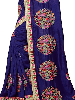 floral resham embroidered saree with blouse - 15414409 - Standard Image - 3