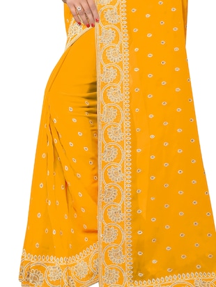embellished floral border stone work saree with blouse - 15414416 - Standard Image - 3