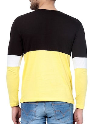 yellow cotton color block t-shirt - 15414436 - Standard Image - 3