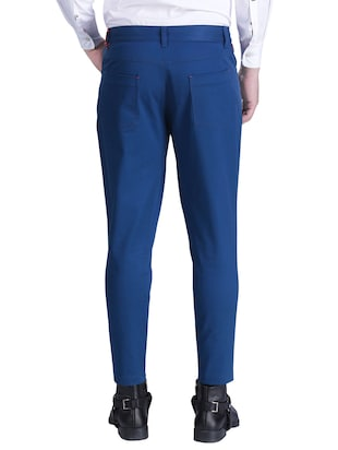 blue cotton chinos casual trousers - 15414569 - Standard Image - 3