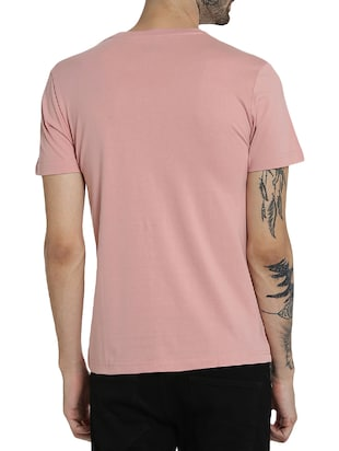 pink cotton chest print t-shirt - 15414709 - Standard Image - 3