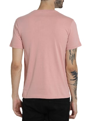 pink cotton chest print t-shirt - 15414711 - Standard Image - 3