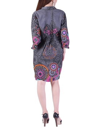 pleated printed a-line dress - 15414984 - Standard Image - 3
