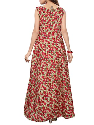 red satin fit & flare gown - 15415021 - Standard Image - 3