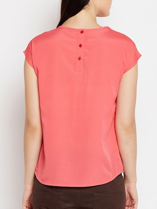 keyhole neck button back top - 15415744 - Standard Image - 3