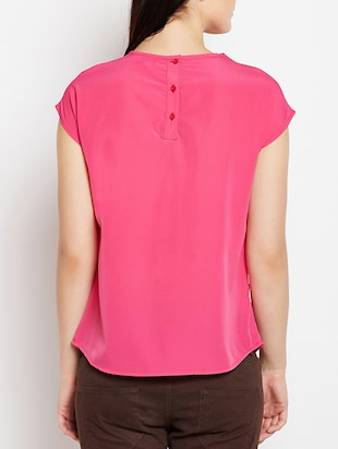keyhole neck button back top - 15415745 - Standard Image - 3