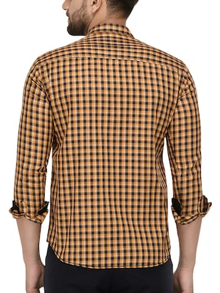 yellow cotton casual shirt - 15415883 - Standard Image - 3