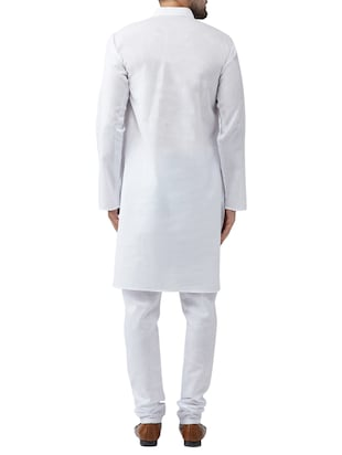 white cotton kurta pyjama set - 15415938 - Standard Image - 3