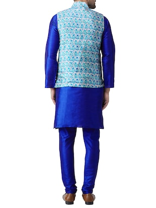blue silk blend kurta pyjama set with nehru jacket - 15415966 - Standard Image - 3