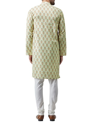 green cotton kurta pyjama set - 15415979 - Standard Image - 3
