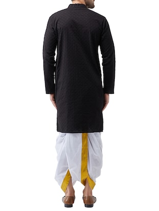 black cotton dhoti kurta set - 15415984 - Standard Image - 3