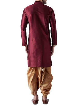 maroon and gold silk blend dhoti kurta set - 15415996 - Standard Image - 3