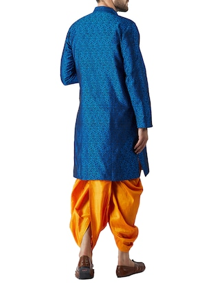 blue and mustard silk blend dhoti kurta set - 15415997 - Standard Image - 3