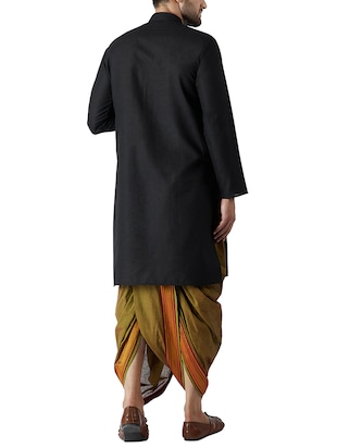 black and green cotton dhoti kurta set - 15416019 - Standard Image - 3
