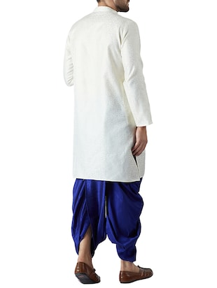 white and royal blue silk blend dhoti kurta set - 15416035 - Standard Image - 3