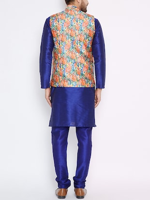 blue silk blend kurta pyjama set with nehru jacket - 15416074 - Standard Image - 3