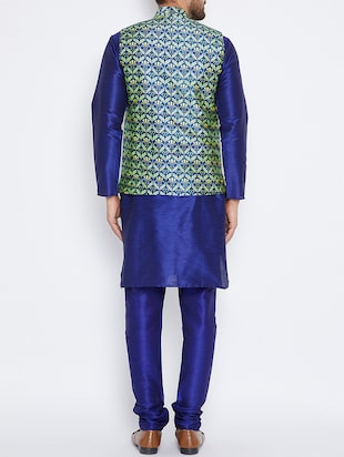 blue silk blend kurta pyjama set with nehru jacket - 15416075 - Standard Image - 3